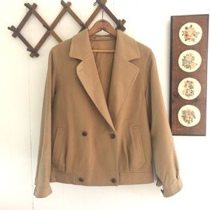 Vintage Camel Tone Wool & Alpaca Flight Jacket
